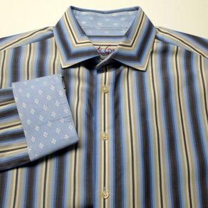 Robert Graham Multi Stripe Flip Cuff Shirt 2XL